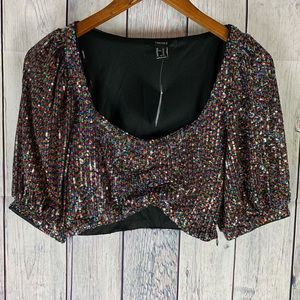 NWT Forever 21 Ladies Sequin Crop Top